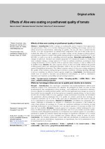 Effects of Aloe vera coating on postharvest quality of tomato