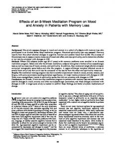 Effects of an 8-Week Meditation Program on Mood and Anxiety in Patients with Memory Loss