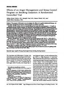 Effects of an Anger Management and Stress Control Program on Smoking Cessation: A Randomized Controlled Trial