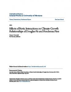 Effects of Biotic Interactions on Climate-Growth Relationships of Douglas-Fir and Ponderosa Pine