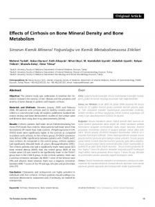 Effects of Cirrhosis on Bone Mineral Density and Bone Metabolism