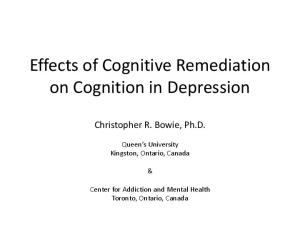 Effects of Cognitive Remediation on Cognition in Depression