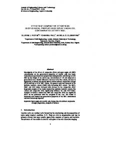 EFFECTS OF COMPACTIVE EFFORTS ON GEOTECHNICAL PROPERTIES OF SPENT ENGINE OIL CONTAMINATED LATERITE SOIL