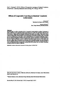 Effects of Cooperative Learning on Students Academic Achievement