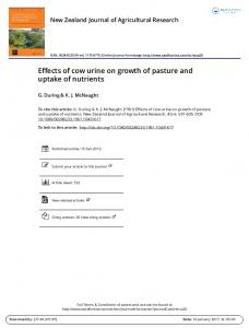 Effects of cow urine on growth of pasture and uptake of nutrients