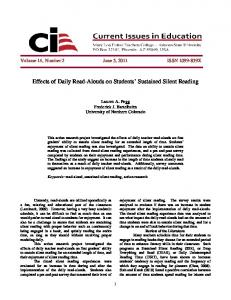 Effects of Daily Read-Alouds on Students Sustained Silent Reading