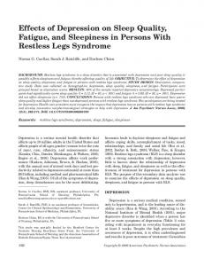 Effects of Depression on Sleep Quality, Fatigue, and Sleepiness in Persons With Restless Legs Syndrome