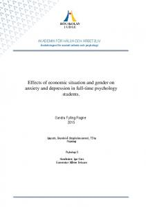 Effects of economic situation and gender on anxiety and depression in full-time psychology students