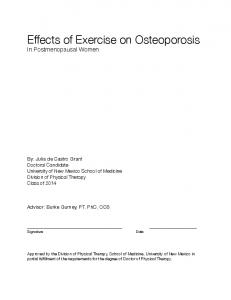 Effects of Exercise on Osteoporosis In Postmenopausal Women