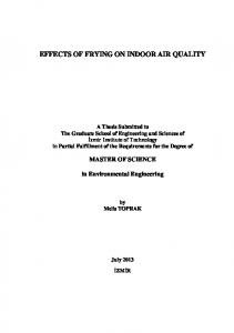 EFFECTS OF FRYING ON INDOOR AIR QUALITY