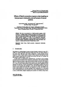 Effects of Health promotion program using laughing on interpersonal relationship and self-esteem of mental patients
