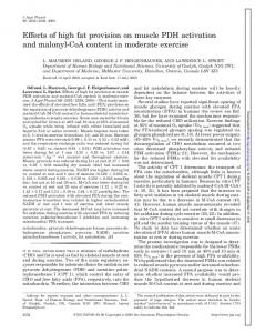 Effects of high fat provision on muscle PDH activation and malonyl-coa content in moderate exercise