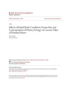 Effects of Initial Body Condition, Frame Size and Concentration of Dietary Energy on Carcass Value of Finished Steers