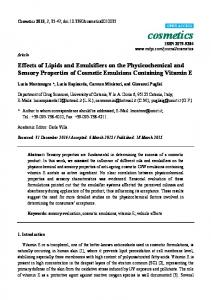 Effects of Lipids and Emulsifiers on the Physicochemical and Sensory Properties of Cosmetic Emulsions Containing Vitamin E