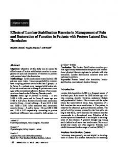 Effects of Lumbar Stabilization Exercise in Management of Pain and Restoration of Function in Patients with Postero Lateral Disc Herniation