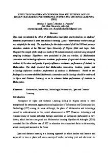 EFFECTS OF MATHEMATICS INNOVATION AND TECHNOLOGY ON STUDENTS ACADEMIC PERFORMANCE IN OPEN AND DISTANCE LEARNING (ODL)