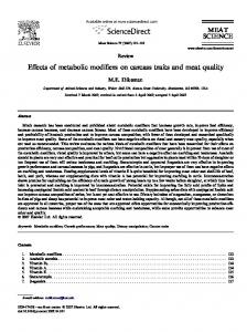 Effects of metabolic modifiers on carcass traits and meat quality