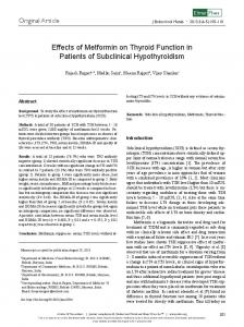 Effects of Metformin on Thyroid Function in Patients of Subclinical Hypothyroidism