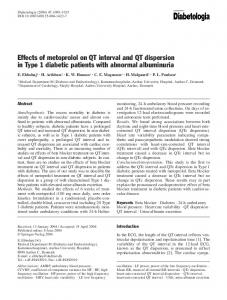 Effects of metoprolol on QT interval and QT dispersion in Type 1 diabetic patients with abnormal albuminuria