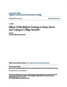 Effects of Mindfulness Training on Stress, Mood and Coping in College Students