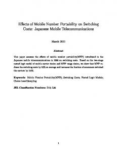 Effects of Mobile Number Portability on Switching Costs: Japanese Mobile Telecommunications