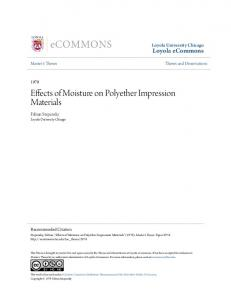 Effects of Moisture on Polyether Impression Materials