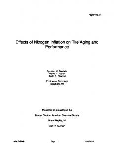 Effects of Nitrogen Inflation on Tire Aging and Performance