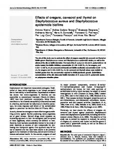 Effects of oregano, carvacrol and thymol on Staphylococcus aureus and Staphylococcus epidermidis biofilms