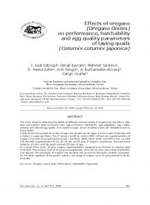 Effects of oregano (Oregano Onites) on performance, hatchability and egg quality parameters of laying quails (Coturnix coturnix japonica)