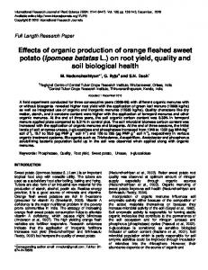 Effects of organic production of orange fleshed sweet potato (Ipomoea batatas L.) on root yield, quality and soil biological health