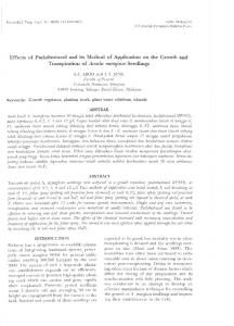 Effects of Paclobutrazol and its Method of Application on the Growth and Transpiration of Acacia mangium Seedlings