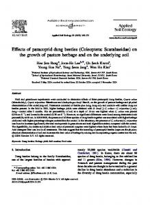 Effects of paracoprid dung beetles (Coleoptera: Scarabaeidae) on the growth of pasture herbage and on the underlying soil