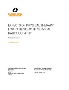 EFFECTS OF PHYSICAL THERAPY FOR PATIENTS WITH CERVICAL RADICULOPATHY