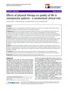 Effects of physical therapy on quality of life in osteoporosis patients - a randomized clinical trial