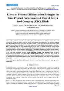 Effects of Product Differentiation Strategies on Firm Product Performance: A Case of Kenya Seed Company (KSC), Kitale