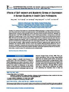 Effects of Self-esteem and Academic Stress on Depression in Korean Students in Health Care Professions