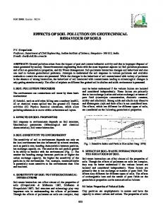EFFECTS OF SOIL POLLUTION ON GEOTECHNICAL BEHAVIOUR OF SOILS