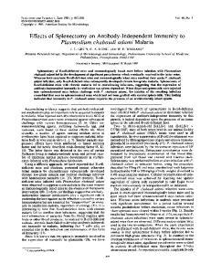 Effects of Splenectomy on Antibody-Independent Immunity to Plasmodium chabaudi adami Malaria
