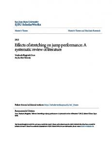 Effects of stretching on jump performance: A systematic review of literature