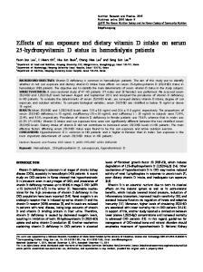 Effects of sun exposure and dietary vitamin D intake on serum 25-hydroxyvitamin D status in hemodialysis patients