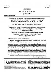 Effects of Sunitinib Malate on Growth of Human Bladder Transitional Cell Line T24 In Vitro