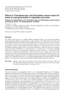 Effects of Trichoderma spp. and Gliocladium roseum culture filtrates on seed germination of vegetables and maize