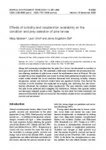 Effects of turbidity and zooplankton availability on the condition and prey selection of pike larvae