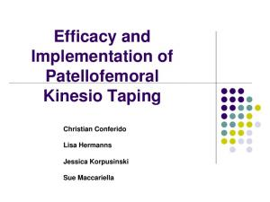 Efficacy and Implementation of Patellofemoral Kinesio Taping