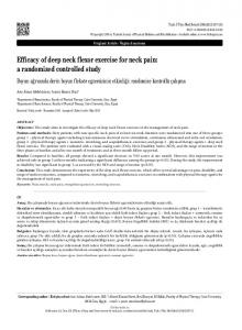 Efficacy of deep neck flexor exercise for neck pain: a randomized controlled study