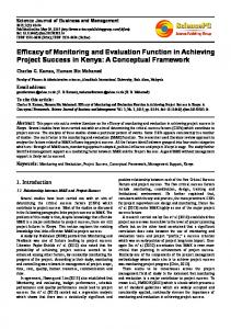 Efficacy of Monitoring and Evaluation Function in Achieving Project Success in Kenya: A Conceptual Framework