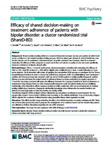 Efficacy of shared decision-making on treatment adherence of patients with bipolar disorder: a cluster randomized trial (ShareD-BD)
