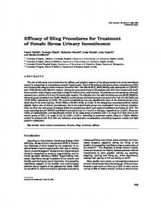 Efficacy of Sling Procedures for Treatment of Female Stress Urinary Incontinence