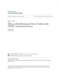 Efficacy of the Elimination Diet in Children with ADHD: A Systematic Review