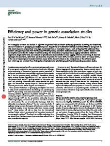 Efficiency and power in genetic association studies